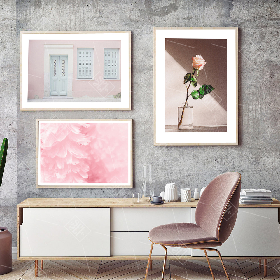 Pink House Posters And Prints Travel Wall Art Pastel Decor
