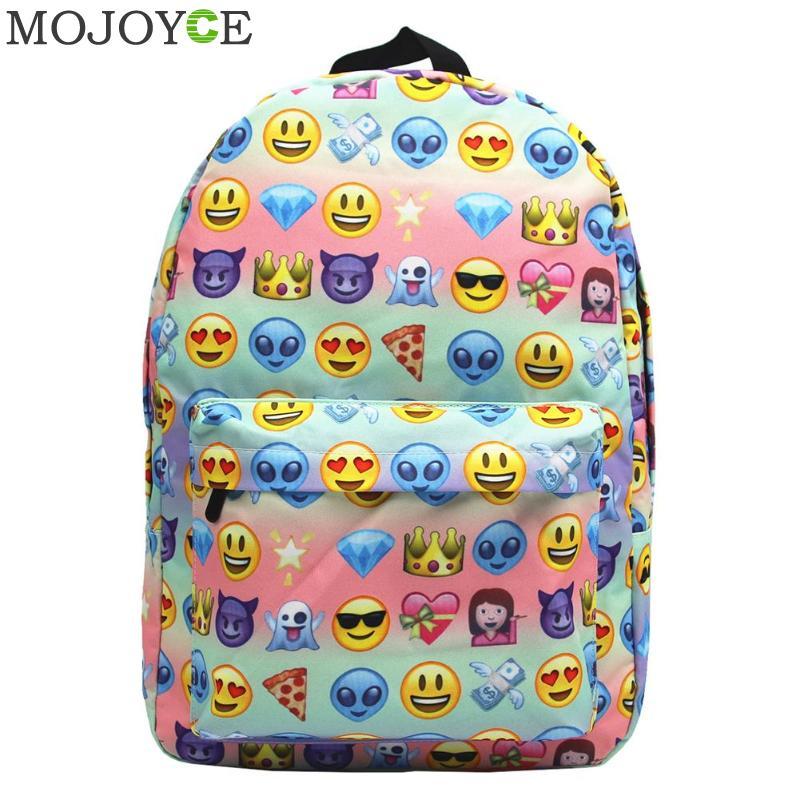 8b17ac844dd0 Dropwow Funny Emoji Backpack 3D Cute Smile Printing Backpack Waterproof Canvas  Backpacks for Teenage Girls kids Travel School Bag 2018