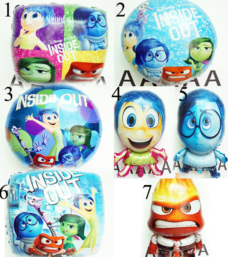 5pc/lot birthday balloons movie inside out balloon toys joy anger sadness disgus