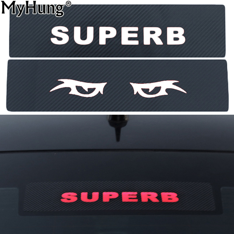 Brake light sticker for skoda superb 2016 2017 high mount stop lamp stickers carbon fiber decoration car accessories car styling in car stickers from