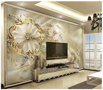 цена на Custom 3d photo wall murals Wallpaper 3d European Palace Wind Golden Jewelry Flowers mural TV Background Wall room decoration