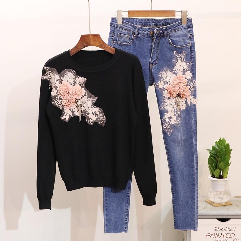ฤดูใบไม้ร่วงใหม่แฟชั่นลูกปัดดอกไม้แขนยาวเสื้อกันหนาวเสื้อ + กางเกงยีนส์ชุดสาวนักเรียน 2 ชิ้นกางเกงดินสอชุด-ใน ชุดสตรี จาก เสื้อผ้าสตรี บน   3