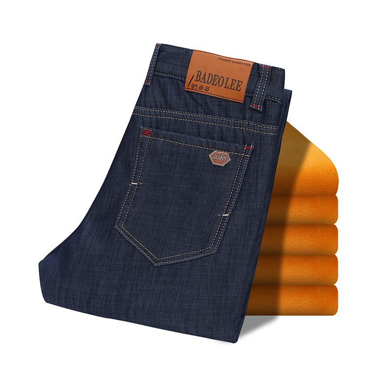 High quality Famous Brand Jeans Mens Winter Warm Fleece Flannel Lined Stretch  Blue Denim Trousers Pants Size 28-42  Jean Men new arrival winter fleece warm jeans high quality men blue denim plus size pants thicken jean slim trousers 100607