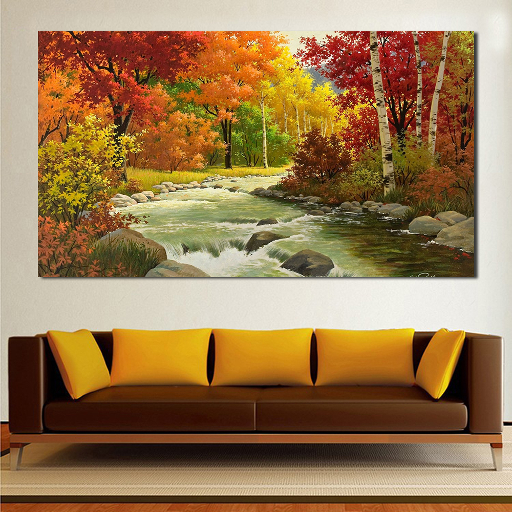 Living Room Paintings Us 9 47 9 Off Jqhyart Home Decor Oil Painting Autumn Landscape Painting River Wood Wall Pictures For Living Room Paintings On Canvas No Frame In
