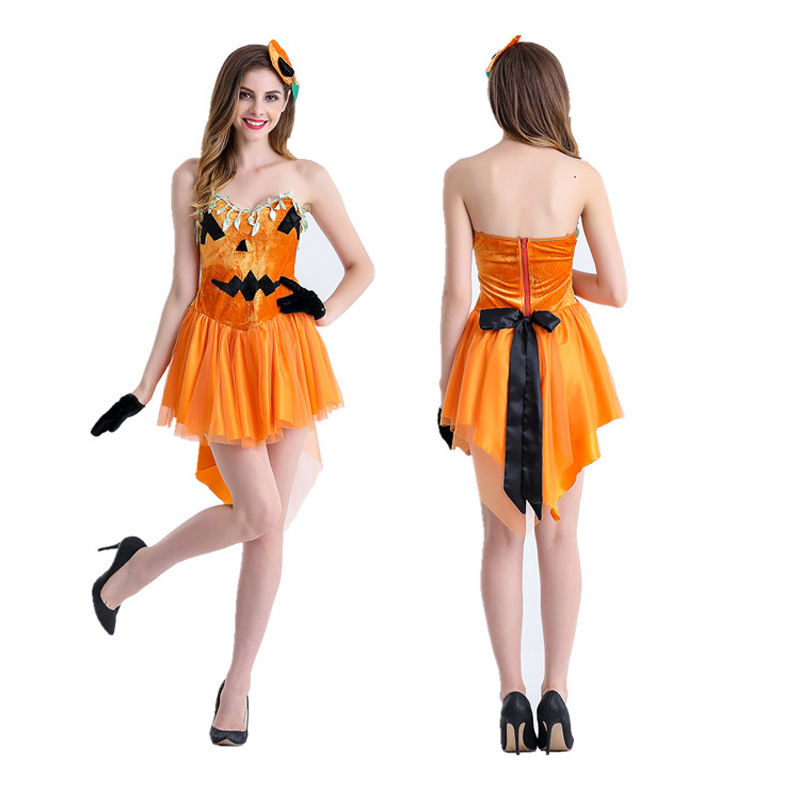 Scary Pumpkin Costume sexy halloween costumes for women adult orange carnival costumes womens Party Performance Suit