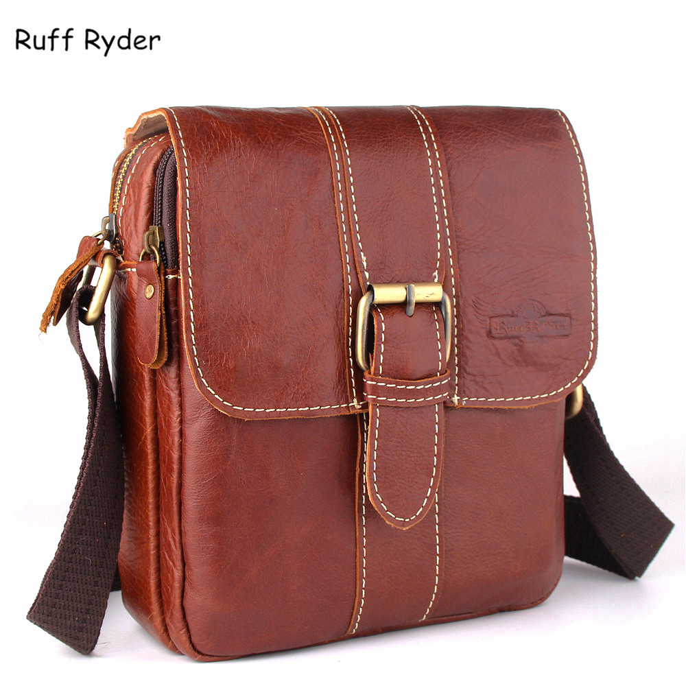 Ruff Ryder Cowhide Genuine Leather Shoulder Bags Crossbody Bag Fashion Men Messenger Bags Handbag Small Men's Leather Flap Bag the unwritten vol 11