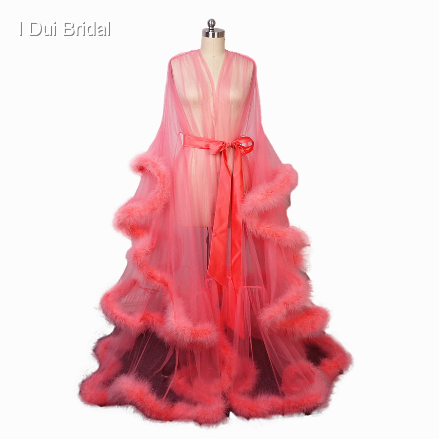 Feather Evening Dresses Fancy Party Wear Illusion Coral Robe Ceremony Wear Sheer Tulle Sexy