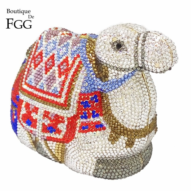 Famous Brand Camel Shape Women Crystal Clutch Evening Clutches Bags Metal Minaudiere Handbag Bridal Wedding Animal Shoulder Bag
