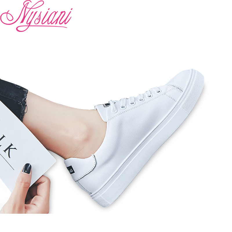 2019 Split Leather Women Flat Shoes Casual Loafers Spring New Female White Single Shoes Round Toe