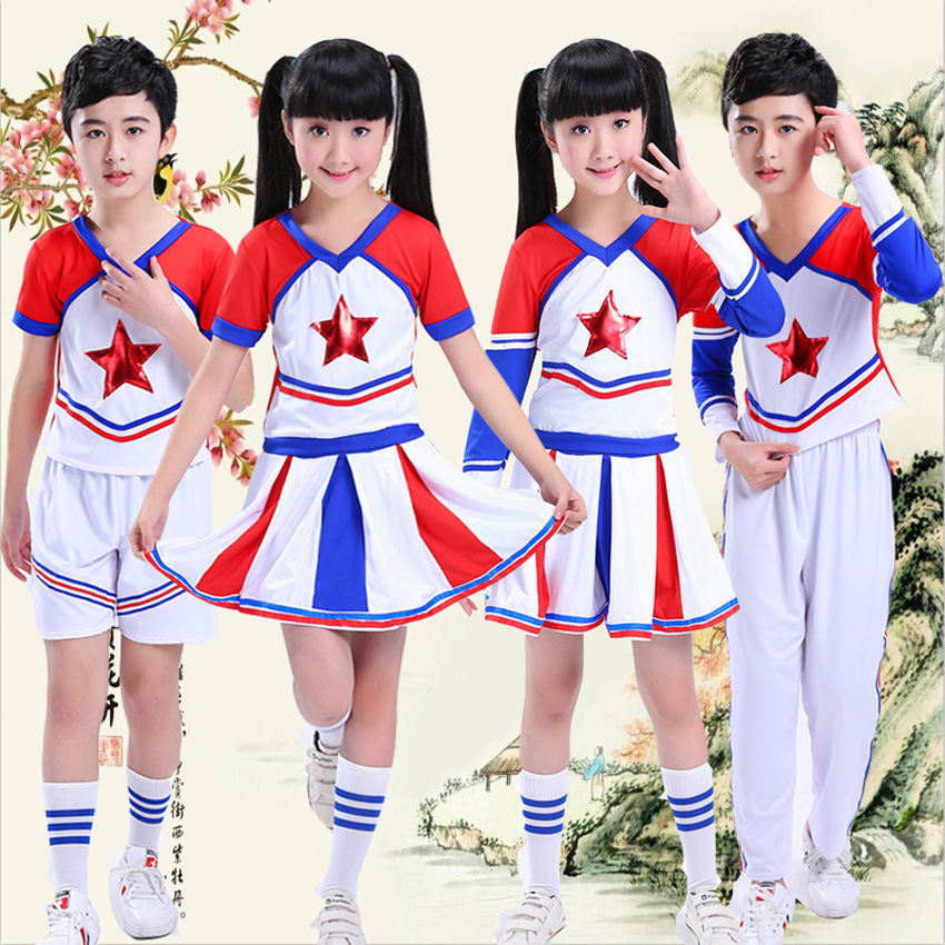 Teenager Girls School Uniform Dresses Stage Wear Show Performance Cheerleading Cheerleader Costumes for Kids Boys Clothing Set