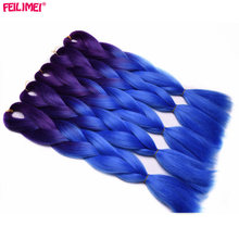 Feilimei Purple Blue Jumbo Braiding Hair Extensions Synthetic 24″(60cm) 100g/pc Two/Three Toned Ombre Crochet Braids Hair Bulk