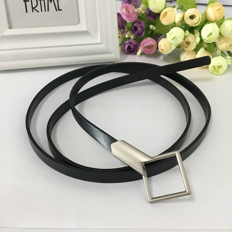 Seabigtoo Pu Leather Thin Belts Female Metal Buckle Black Belts For Women Dresses Long Belts Designer Belts Women High Quality