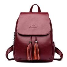 ФОТО jixiangsan female backpack women leather backpack for teenage girls large capacity travel back pack tassel rucksacks sac a dos