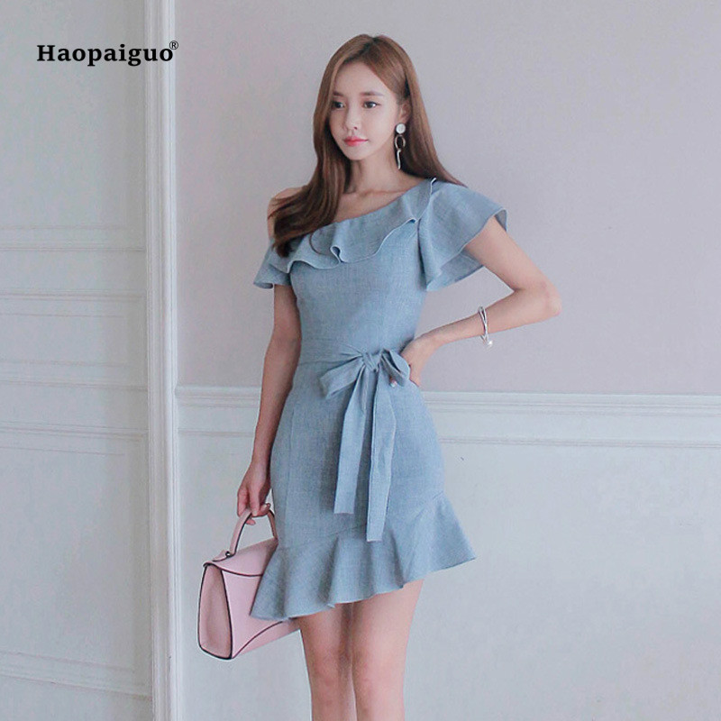 Solid Asymmetrical Dress Summer Women Short Sleeve Off the Shoulder Bow Elegant Office Lady Dress Casual Mini Dresses Vestidos