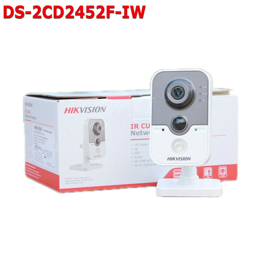 Free shipping Hikvision IP Wifi Camera DS-2CD2452F-IW English version 5MP mini Cube IP CCTV Camera wifi POE 10m IR two-way audio dhl free shipping english version ds 7108ni e1 v w embedded mini wifi nvr poe 8ch for up to 6mp network ip camera