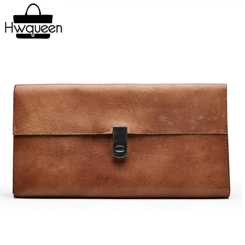 Vintage Genuine Tanned Leather Women s Hasp Clutch Female Card Purse Soft Cowhide Phone Holder Long