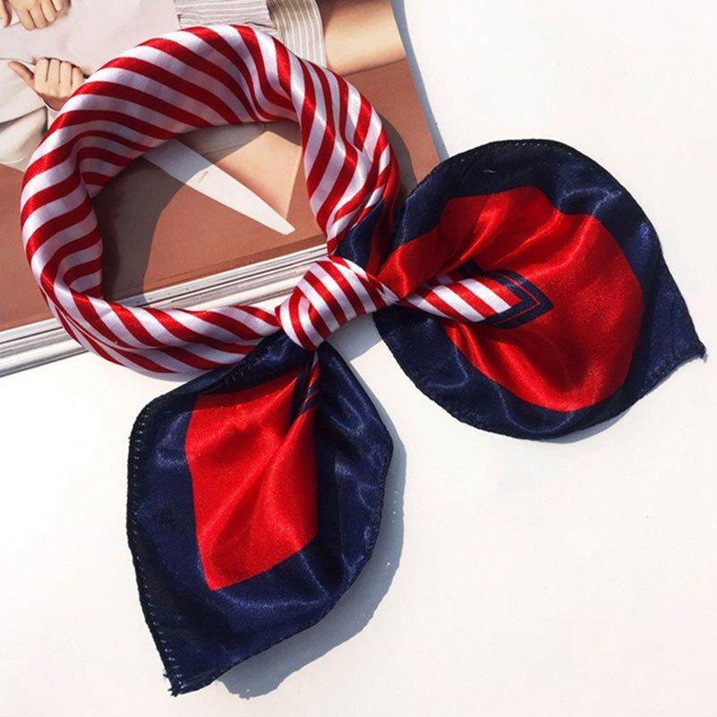 50x50см Женщины Банданы Многофункциональный полиэстер Шелковый шарф Отпечатки Атласные квадратные платочки