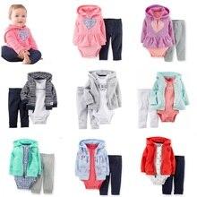 2017男の赤ちゃん服セット新生児ボディスーツパンツジャケット3 pcsスーツファッションベベガール服子供のスポーツのスーツ綿の服