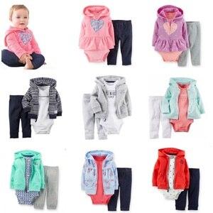 Image 1 - 2017 Baby Boys Clothes Sets Newborn Bodysuit Pant Jacket 3 pcs Suit Fashion Bebe Girl Clothing Children Sport Suit Cotton Outfit
