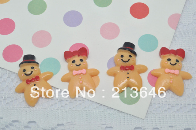 40Pcs/lot Very Hot and kawaii cute Mr & Mrs Gingerbread Man Cabochon phone case resin DIY phone decoration
