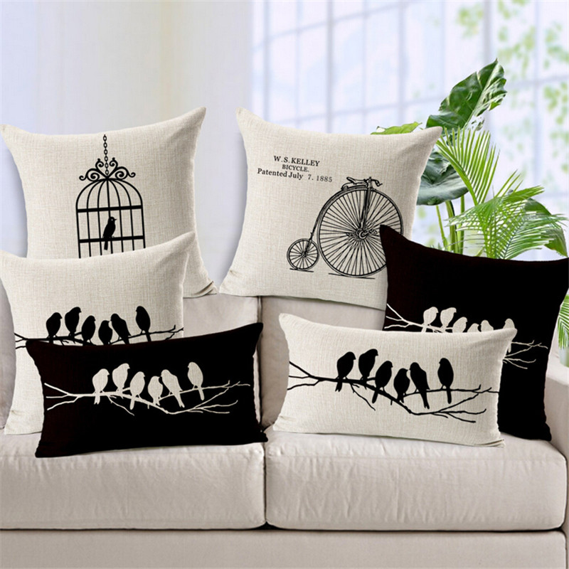 Vintage Bird Black And White Pillow Covers Funda Nordico <font><b>Elegant</b></font> Cushion Cover For Sofa Capa De Almofadas <font><b>Home</b></font> <font><b>Decor</b></font> Cojin Funda