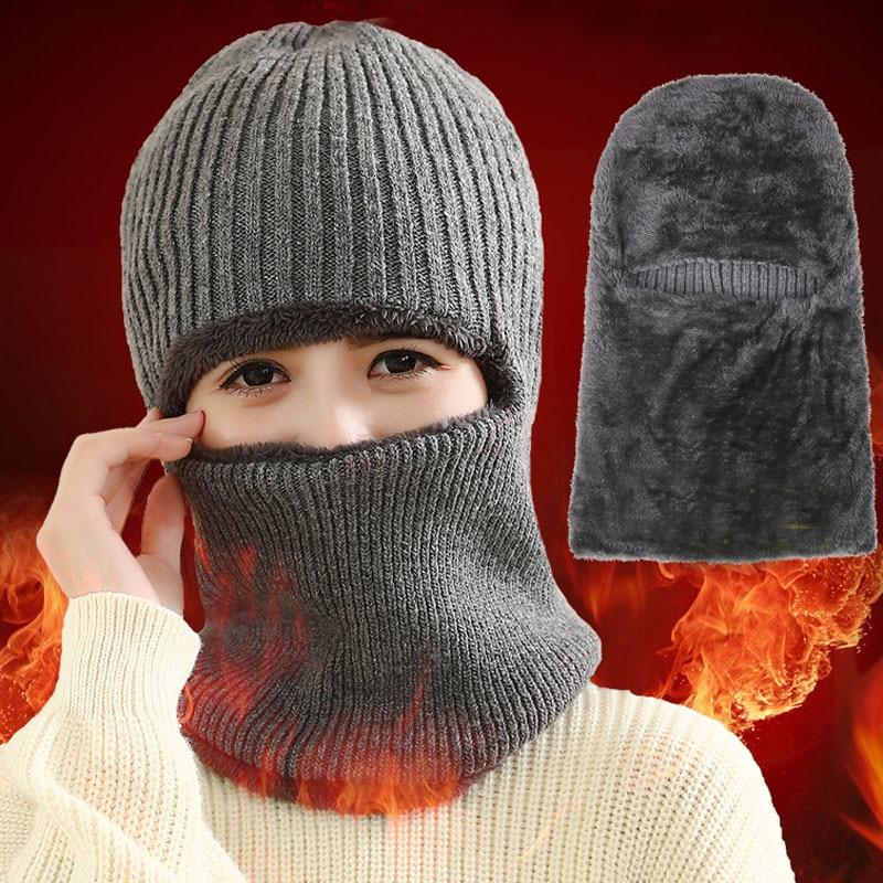 2c69e358479 2017 Unisex Neck warmer knit cap scarf cap two-piece Winter Hats For Men Fur  Winter Beanie Fleece Hat balaclava with Neckwarmer