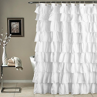 Newly Ruffle Shower Curtain Polyester Fabric Cloth Curtains for Bathroom Bathing