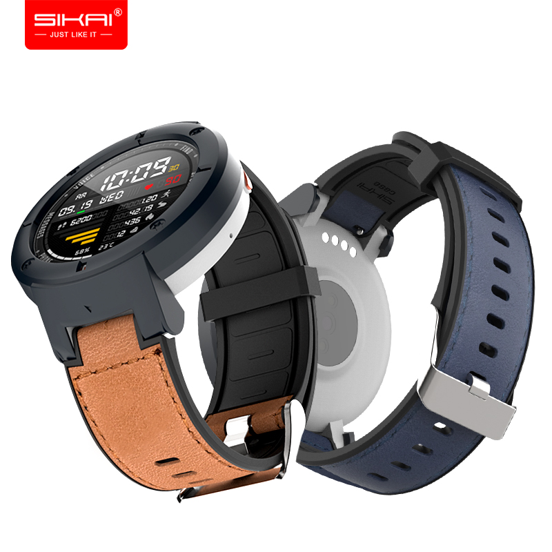 SIKAI Silicone Leather Watchband For Amazfit Verge Lite Smartwatch High-quality Leather Strap Replacement Bracelet For Huami 3