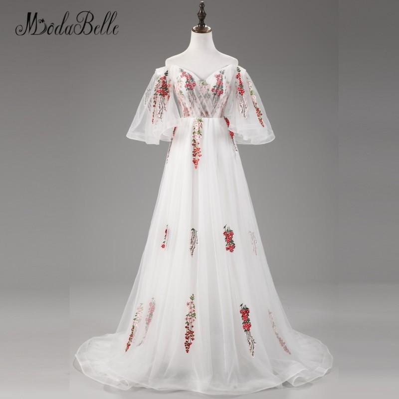 Modabelle Embroidery Sweetheat Off The Shoulder Evnening Dress 2017 Tulle vestidos de fiesta de noche White A Line Party Grown