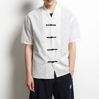 2017 Lato Chiński Styl Lniane Koszule Camisa Masculina Mężczyzna Mody Slim Pasuje Krótki Rękaw V Neck Cotton Lato koszule