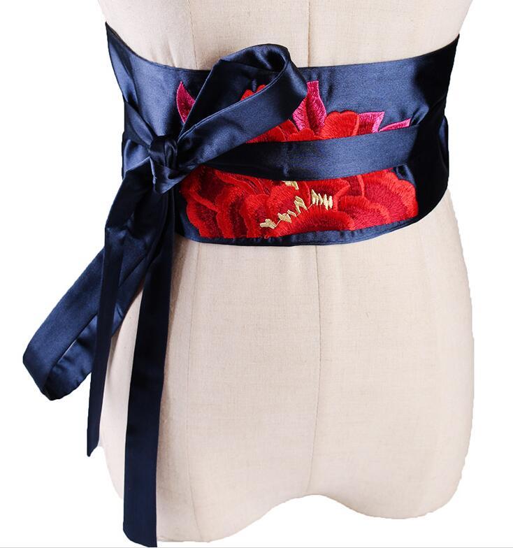 Women's Runway Fashion Flower Embroidery Satin Cummerbunds Female Dress Corsets Waistband Belts Decoration Wide Belt R1107