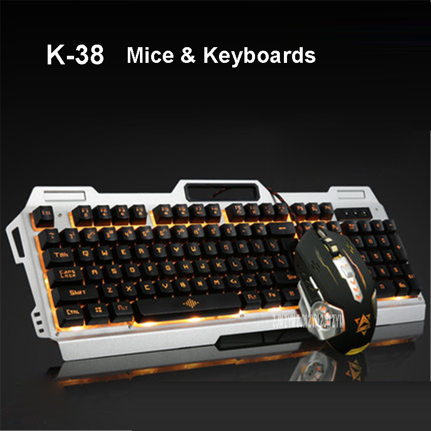 K-38 Wired keyboard mouse set computer desktop USB light game mechanical feel cool backlit suspension keycap 2400DPI Wired ...