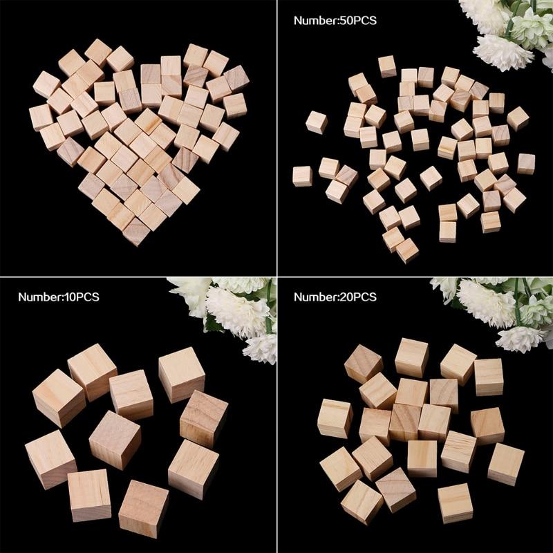 10/25/25mm Wooden Square Blocks Mini Cubes Embellishment For Woodwork Craft DIY