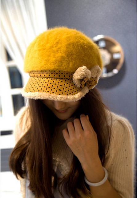 Skullies Beanies Korean version new autumn winter rabbit fur plaid bow knitted hat 92618 skullies