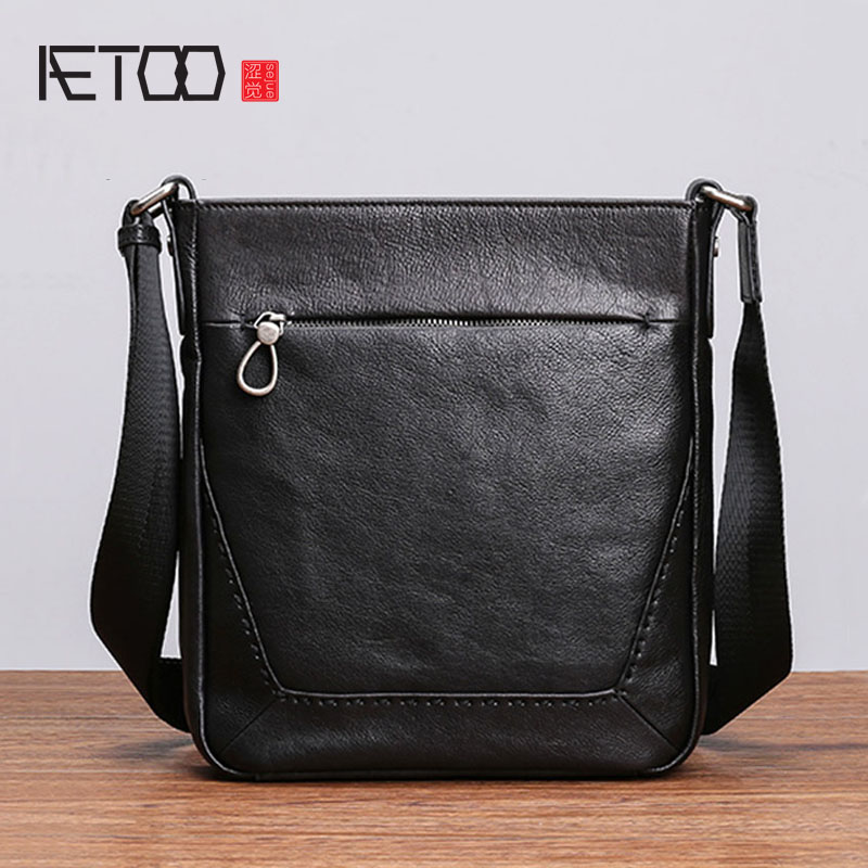 AETOO Leather men s single shoulder Bao Han business leisure vertical men s bag Baotou layer