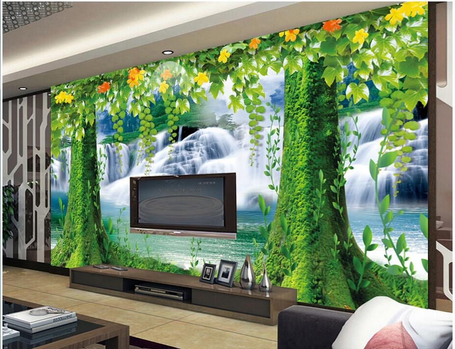 3d wallpaper custom photo non-woven mural Big tree vine waterfall room decoration painting 3d wall murals wallpaper for walls 3d mobaks hxt 2045 novel zipper style universal 3 5mm jack wired in ear headset w microphone blue