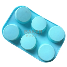 hot deal buy rotundity silicone bakeware cake pastry moulds tools 6 lattices muffin bread molds cold soap molds wholesale