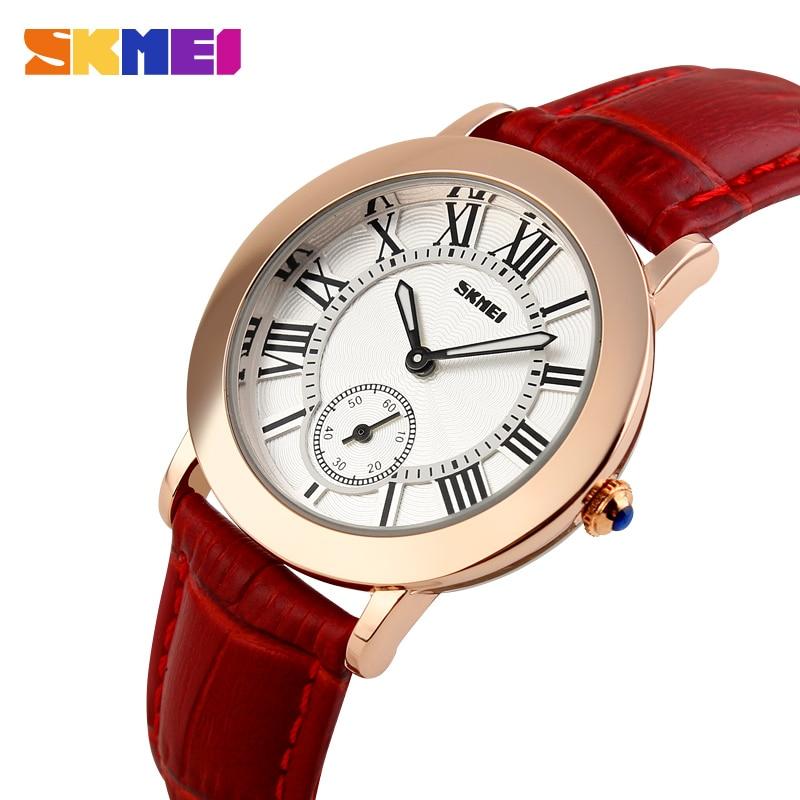 SKMEI Women Ladies Quartz Watch Women's Watches Genuine Leather Band Waterproof Clock Montre Femme Reloj Mujer Wrist Watches1083