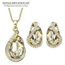 Neoglory made with swarovski elements crystal nupcial de la boda set de joyas collares pendientes de clip de perlas para las mujeres 2017