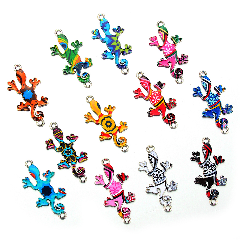 10pcs Colorful Random Lizard Enamel Alloy Connectors Bracelets Charms For DIY Necklace Accessories DIY Fashion Jewelry Finding
