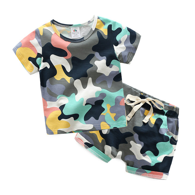 2018 Hot Summer 2 10 Years Old Birthday Handsome Clothing Short Sleeve Baby Kids Boy Army Green Camouflage T Shirt Shorts Set