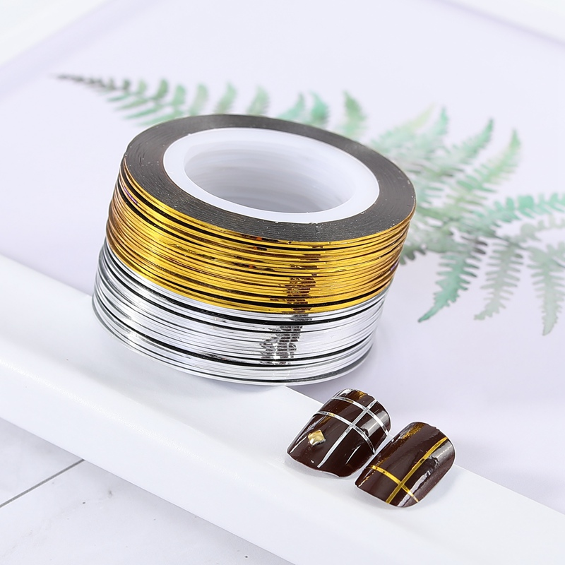 Gold Striping Tape Nail Art: 1 Roll Gold Silver Glitter Striping Tape Lines For Nail