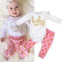 2Pcs Lot Newborn Infant Baby Girls Clothing Sets Cotton Flower Print Summer Romper Pants Baby Sets