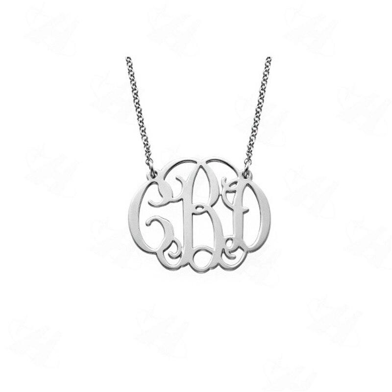 ff28ce4b666c Monograma personalizado letra inicial COLLAR COLGANTE de plata Collar  personalizado nombre joyería ...