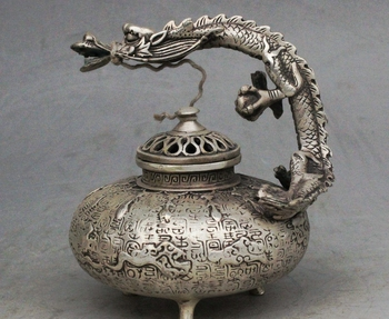 Copper Brass craft Marked China Palace Silver Dragon Beast Handle Statue lncense burner Censer