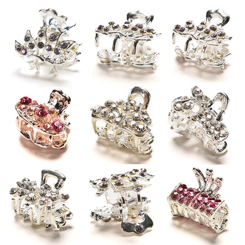 Butterfly Small Mini Hair Clip Claw Clamp Retro Crystal Rhinestone Hairpin Jewelry Hair Accessories For Women