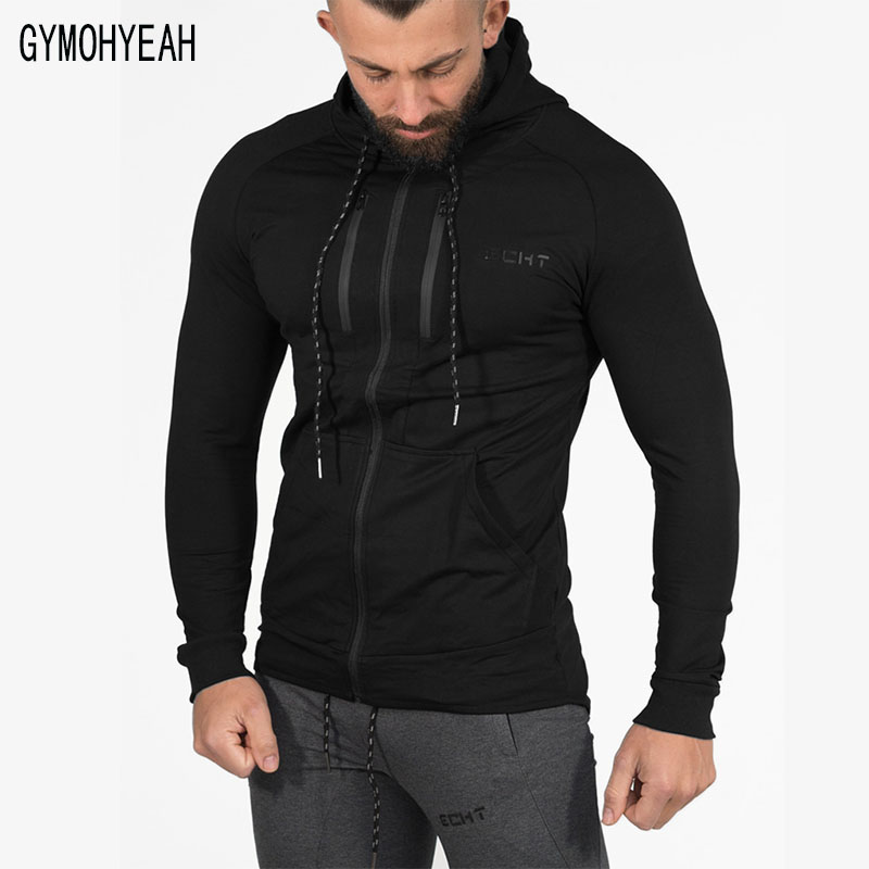 GYMOHYEAH New Mens Sweatshirts Chest Zipper Hight Quality Mens Hoodies And Sweatshirts Autumn Spring Fashion Style ...
