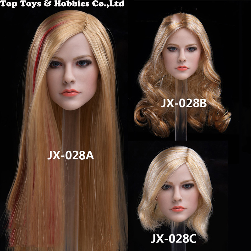Toy 1/6 scale JX-028A/B/C girl Head Carved Singer Avril Pale Skin Head Sculpt Model for 12 PH Female Action Figure Body ToysToy 1/6 scale JX-028A/B/C girl Head Carved Singer Avril Pale Skin Head Sculpt Model for 12 PH Female Action Figure Body Toys