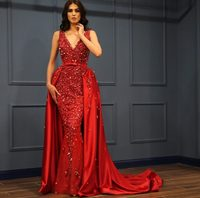 Red Prom Dress Gowns Mermaid Evening Party Wear Long Gown Women Clothing Formal Gown Luxury Evening Dresses with Overskirt