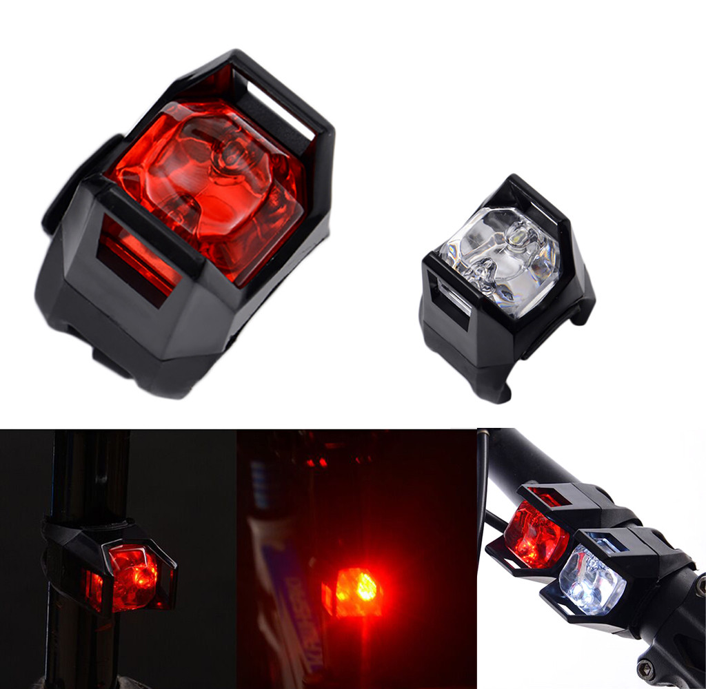 1PC Black Bike Bicycle Cycling Flashing Head Front Wheel LED Flash Light Lamp Head Front Rear Tail Clip Light Lamp